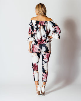 Rose Print Co Ord Suit Off The Shoulder Top & Skinny Trousers-Jezzelle