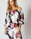 Rose Print Co Ord Suit Off The Shoulder Top & Skinny Trousers - Jezzelle