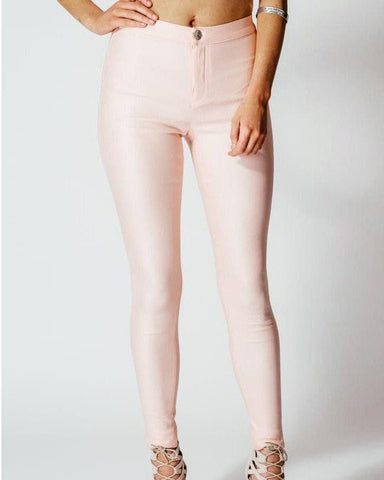 Metallic Finish Pink Treggings-Jezzelle