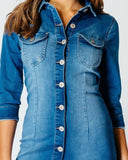 Mid Wash Denim Shirt Dress-Jezzelle