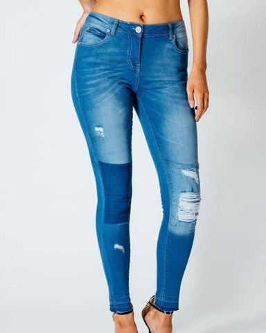 Mid Wash Patchwork Ripped Skinny Jeans - Jezzelle