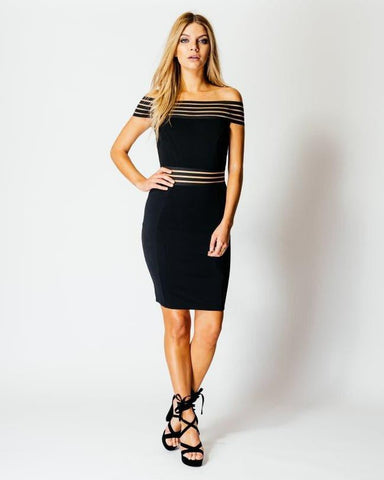 Off The Shoulder Bardot Bodycon Dress - Jezzelle