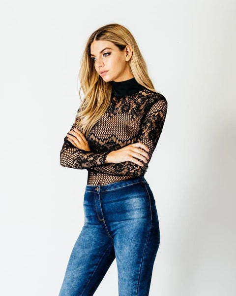 High Neck Long Sleeve Lace Bodysuit-Jezzelle
