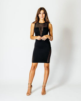 Round Neck Burnt Out Fabric Detail Dress-Jezzelle