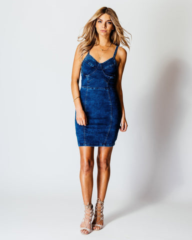 Strappy Denim Mini Bodycon Dress-Jezzelle