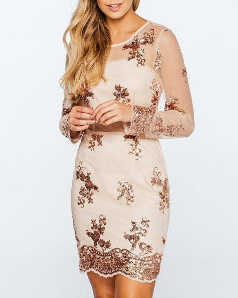 Sequinned Bodycon Dress-Jezzelle