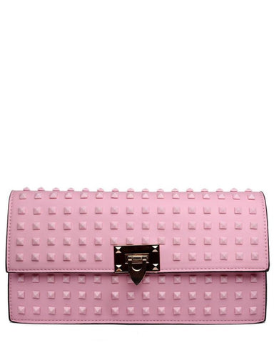 Pink Studded Clutch Bag - Jezzelle
