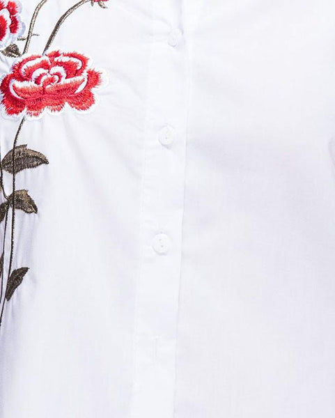 Rose Flower Embroidered Shirt Dress-Jezzelle