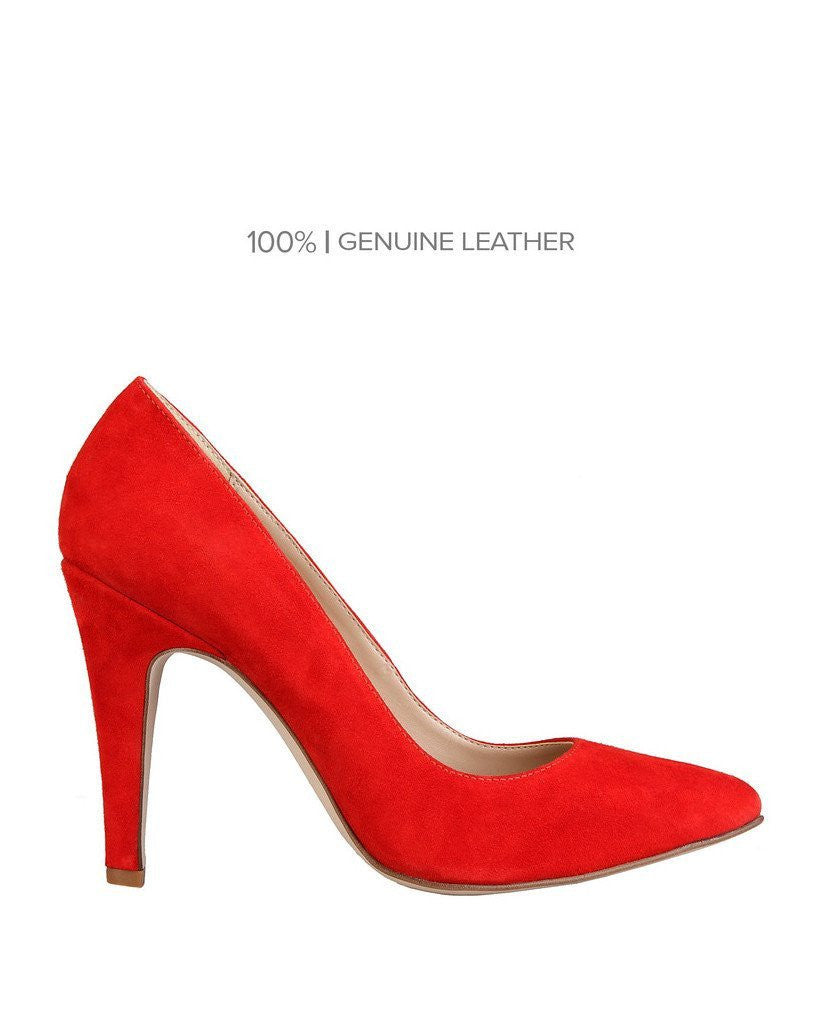 Red Suede Leather High Heels Shoes - jezzelle  - 1