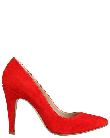 Red Suede High Heels Shoes - Jezzelle