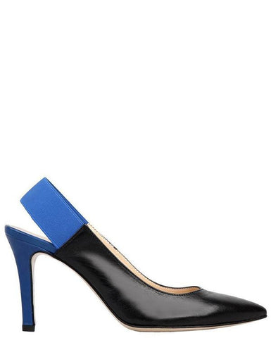 Versace Black & Blue Leather Court Shoes