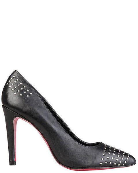 Studded Leather High Heel Shoes - Jezzelle