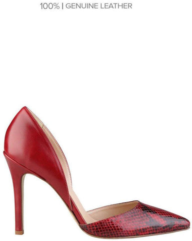 Versace Snake Print Leather Red Pumps-Jezzelle