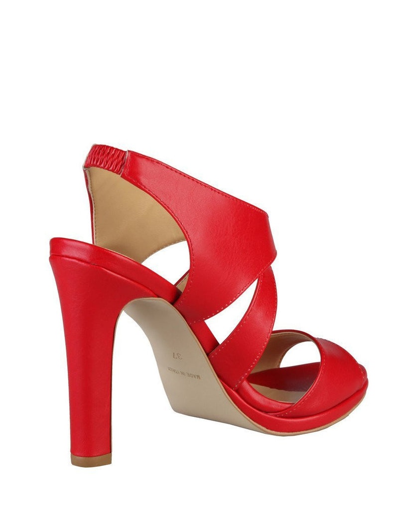 Red Leather Heeled Sandals - jezzelle  - 3