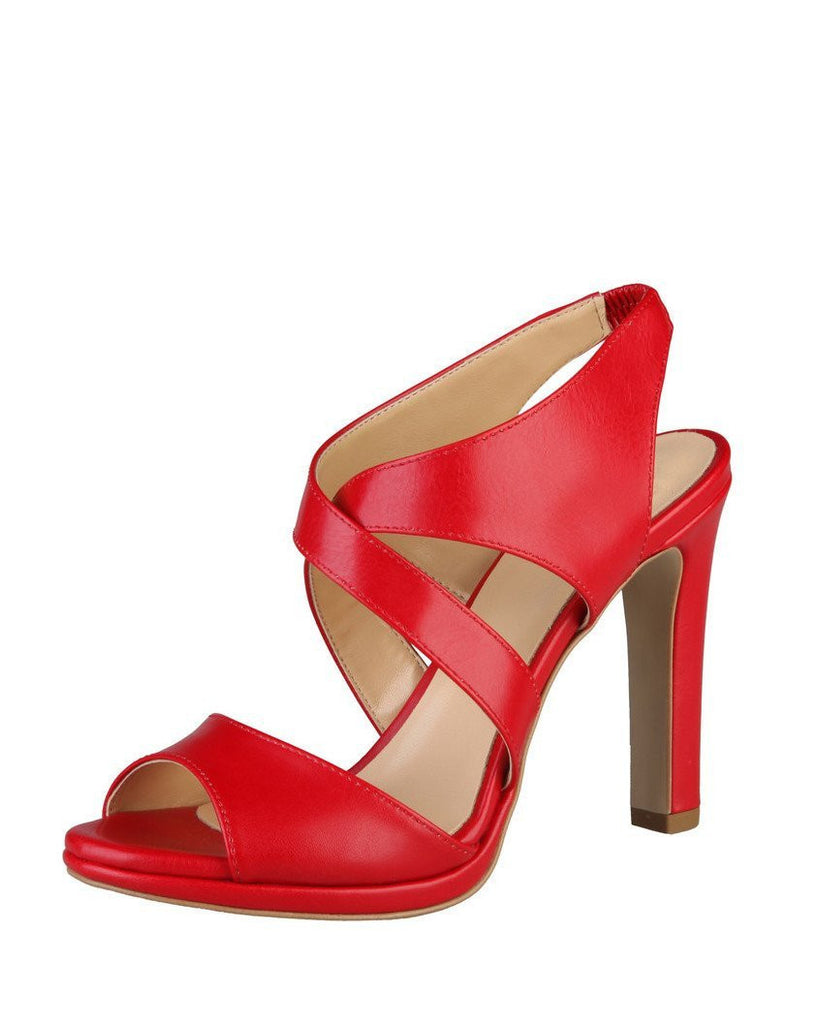Red Leather Heeled Sandals - jezzelle  - 2