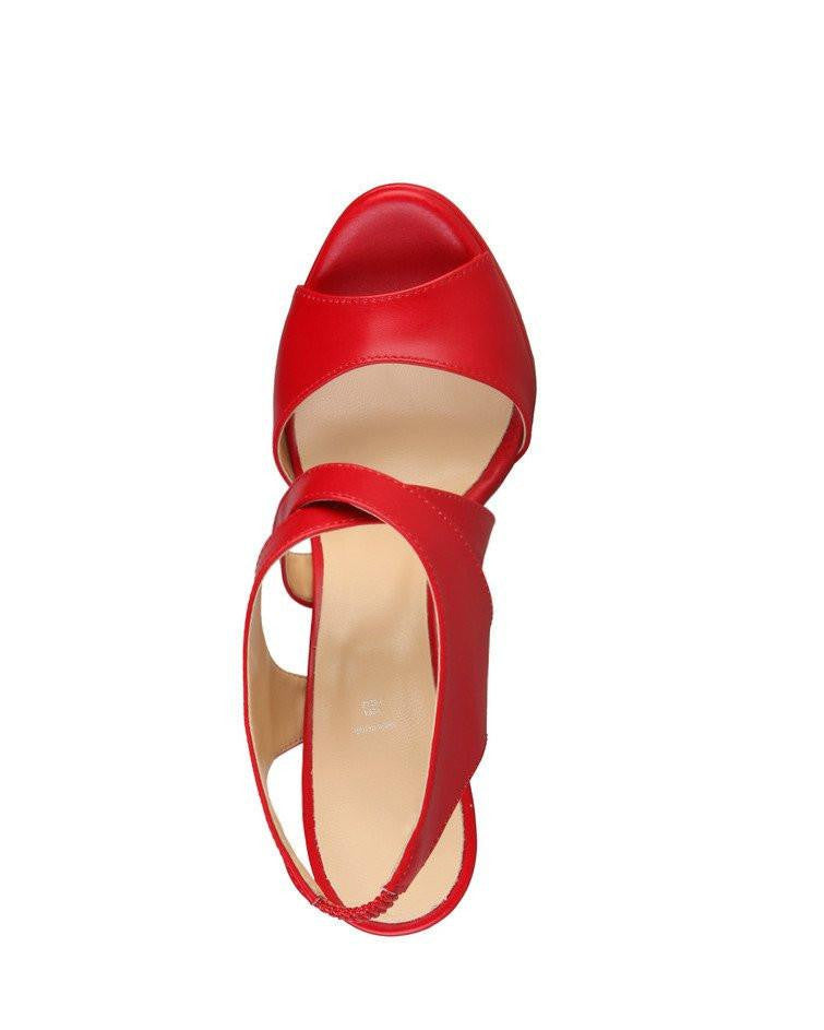 Red Leather Heeled Sandals - jezzelle  - 4