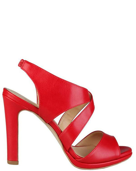 Versace Red Leather Heeled Sandals - Jezzelle