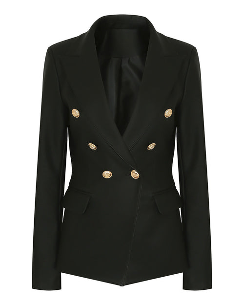 Double Breasted Black PU Blazer-Jezzelle