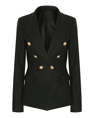Double Breasted Black PU Blazer - Jezzelle
