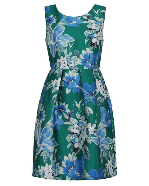 Green Blue Floral Print Prom Dress-Jezzelle