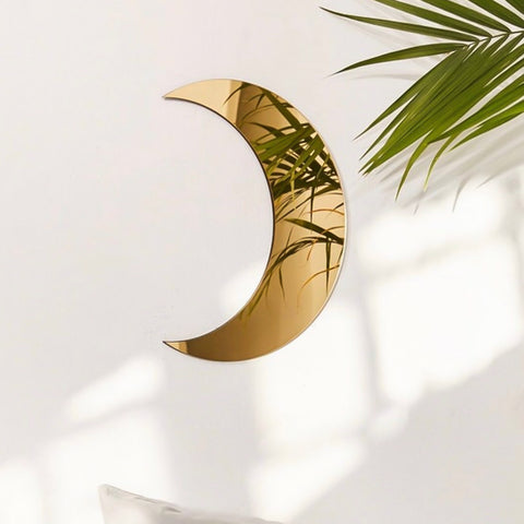 Crescent Half Moon Shape Gold Mirror