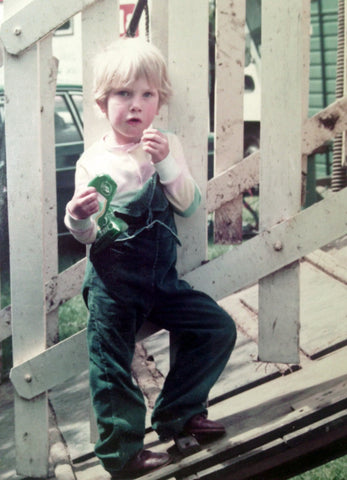 Pheasant Plucker & Son's blog - 7 things you know if you're a farm kid. Photo of a small boy in dungarees
