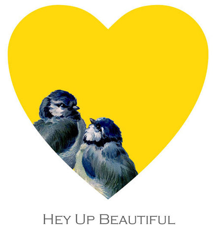 'Hey Up Beautiful' - Pheasant Plucker & Son's Blue Tit Valentine on an egg yolk heart