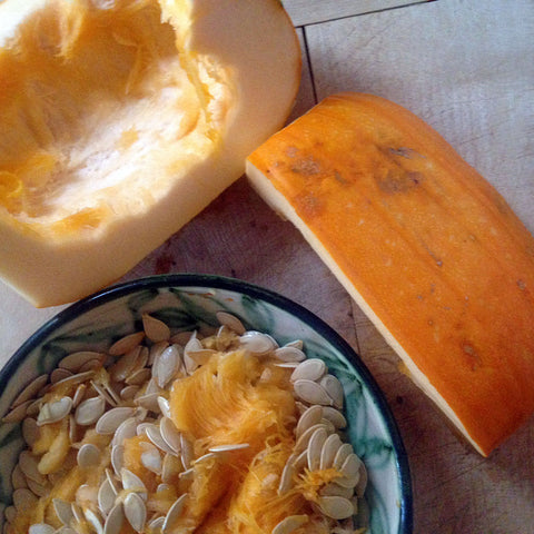 Raw pumpkin with seeds