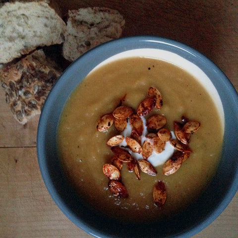 Spicy, roasted pumpkin soup