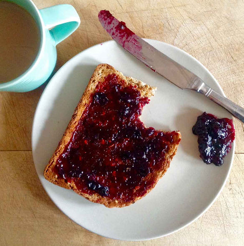 Homemade blackcurrant jam on toast