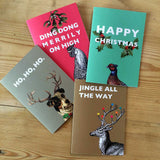 Christmas cards in four designs. Packs of 8 featuring pheasant, hen, terrier and stag designs.