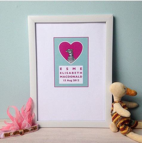 Personalised baby giclee print - pheasant