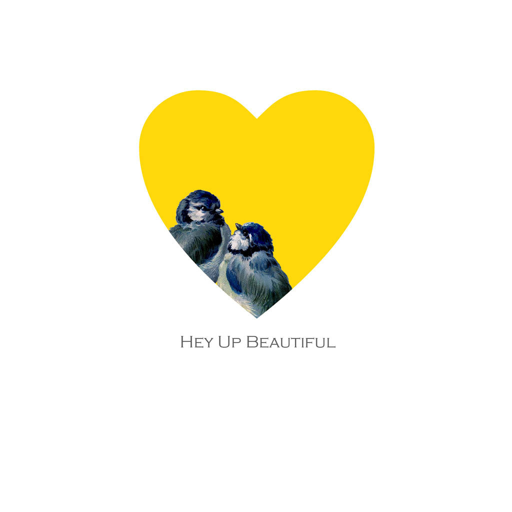 Love birds Valentine card featuring two bluetits snuggled up together in a yolk yellow heart above a message saying Hey Up Beautiful