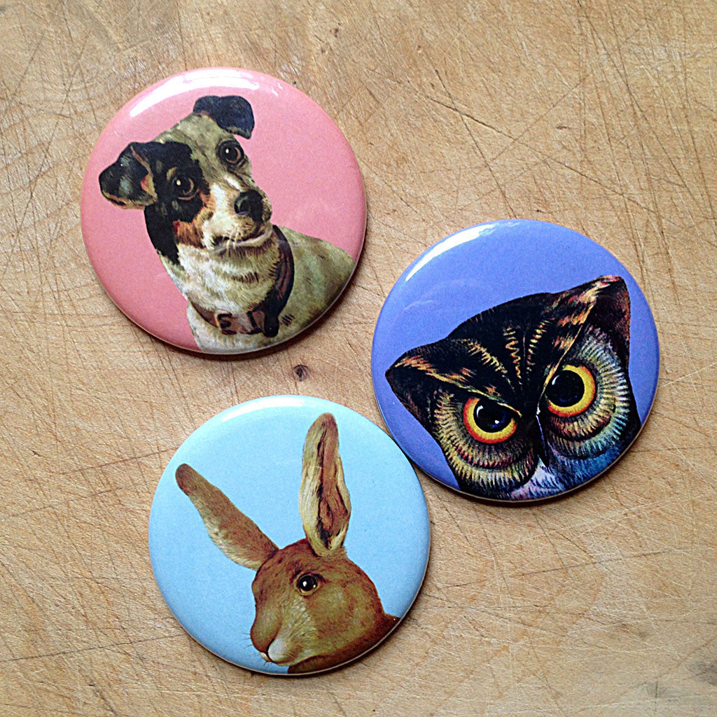 Pheasant Plucker and Son's pocket mirrors - available in Owl, Rabbit or Jack Russell