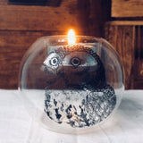 Glass tealight holder in owl design