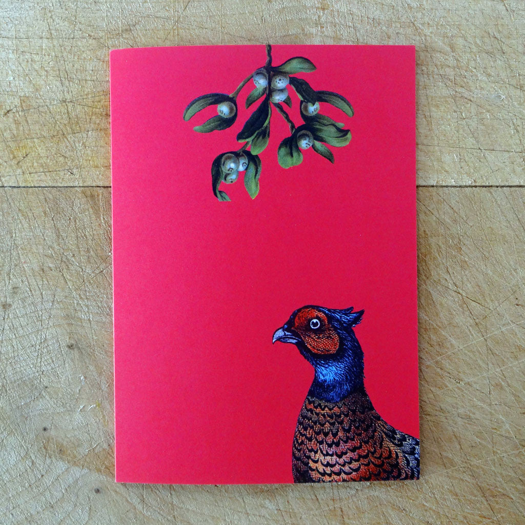 Pheasant under the mistletoe Christmas card