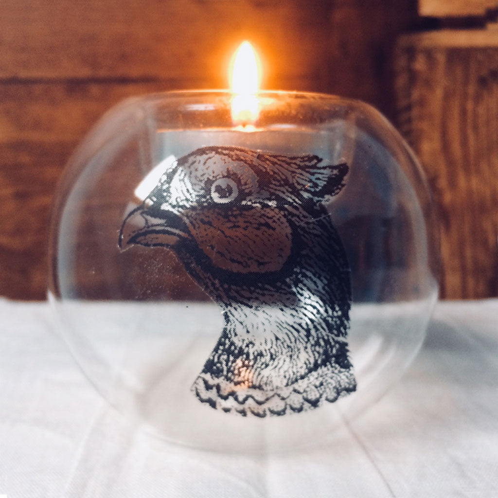 Glass tealight in pheasant design