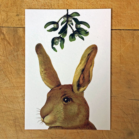 Rabbit under the Mistletoe Christmas cards
