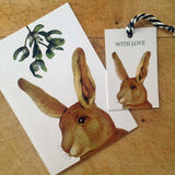 Rabbit gift tag with Rabbit Christmas card
