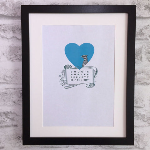 Personalised baby giclee print - pheasant with scroll