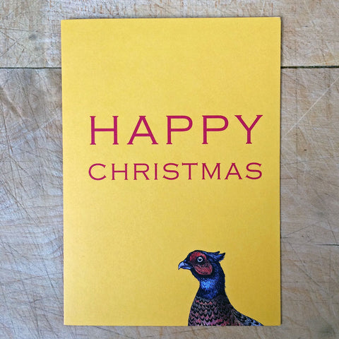 Yellow Pheasant Christmas cards