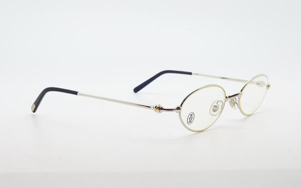 "CARTIER ""SATURNE"" 47-19 PLATINUM PLATED EYEGLASSES"