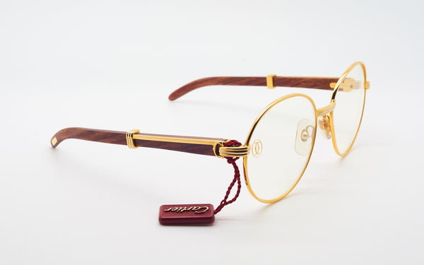 CARTIER BAGATELLE 55-18 BUBINGA WOOD EYEGLASSES