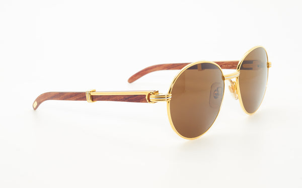 CARTIER BAGATELLE 55-18 BUBINGA WOOD SUNGLASSES