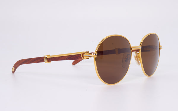 VINTAGE CARTIER BAGATELLE 55-18 GOLD PLATED & BUBINGA WOOD SUNGLASSES.