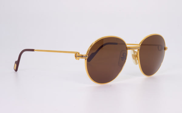 RARE VINTAGE CARTIER LOUVRE 52-18 GOLD PLATED 1990's SUNGLASSES