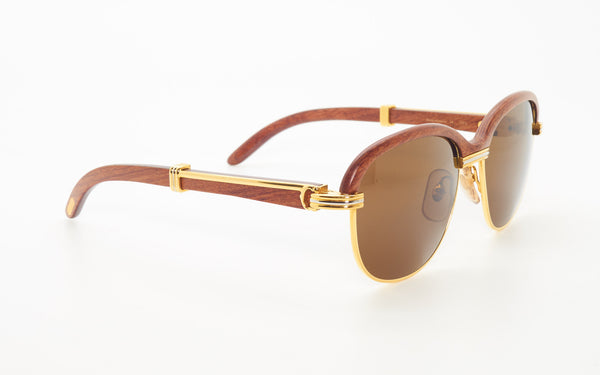 CARTIER MALMAISON 54-17 BUBINGA WOOD SUNGLASSES