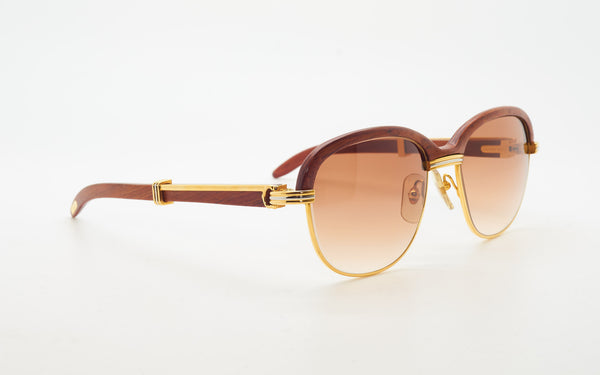 CARTIER MALMAISON 56-19 BUBINGA WOOD SUNGLASSES