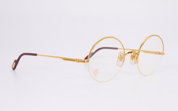 RARE VINTAGE CARTIER MAYFAIR 47-22 GOLD PLATED HALF RIM EYEGLASSES