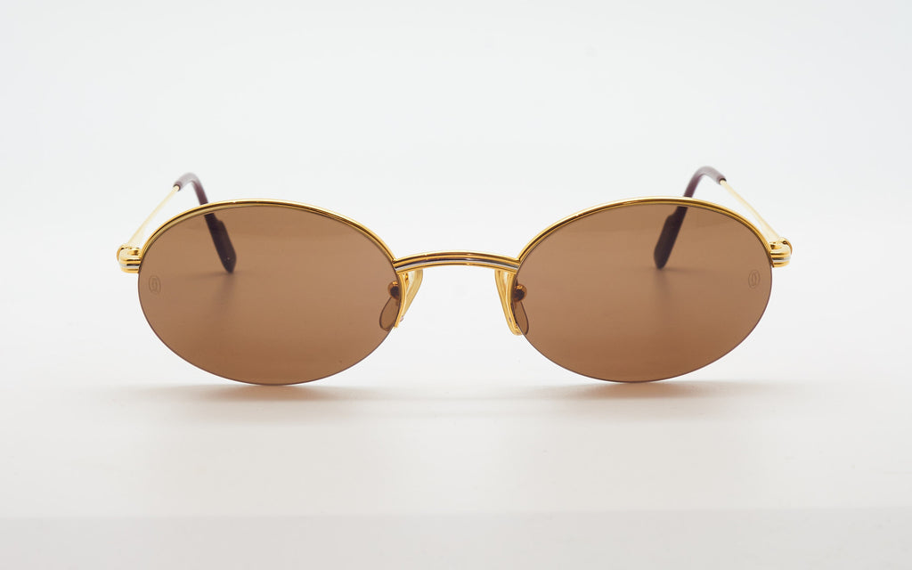 CARTIER HALF RIM 53-22 GOLD PLATED OVAL SUNGLASSES
